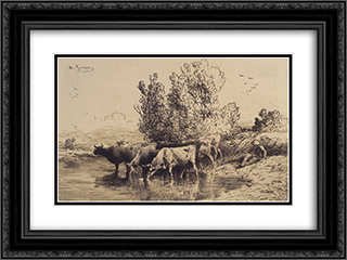 Cows 24x18 Black or Gold Ornate Framed and Double Matted Art Print by Charles Jacque