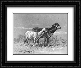 Ewe and Lamb 24x20 Black or Gold Ornate Framed and Double Matted Art Print by Charles Jacque
