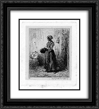 Femme 20x22 Black or Gold Ornate Framed and Double Matted Art Print by Charles Jacque