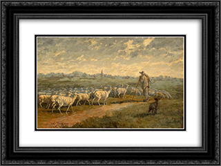 Landscape with a Herd 24x18 Black or Gold Ornate Framed and Double Matted Art Print by Charles Jacque
