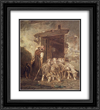 Leaving the Sheep Pen 20x22 Black or Gold Ornate Framed and Double Matted Art Print by Charles Jacque