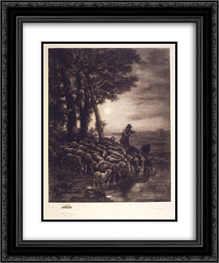 Moonlight 20x24 Black or Gold Ornate Framed and Double Matted Art Print by Charles Jacque