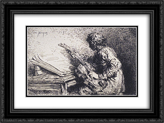 Musician 24x18 Black or Gold Ornate Framed and Double Matted Art Print by Charles Jacque