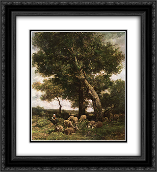 On the Pasture 20x22 Black or Gold Ornate Framed and Double Matted Art Print by Charles Jacque