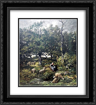 Schaferin mit Herde 20x22 Black or Gold Ornate Framed and Double Matted Art Print by Charles Jacque