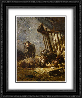 Sheep in Manger 20x24 Black or Gold Ornate Framed and Double Matted Art Print by Charles Jacque
