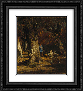 The Old Forest 20x22 Black or Gold Ornate Framed and Double Matted Art Print by Charles Jacque