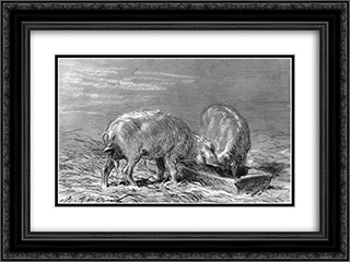 Two Pigs Eating from a Trough 24x18 Black or Gold Ornate Framed and Double Matted Art Print by Charles Jacque
