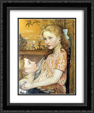 A Girl With Her Guardian Angel 20x24 Black or Gold Ornate Framed and Double Matted Art Print by Charles Maurin