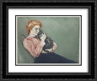 Jeune Femme Au Chat 24x20 Black or Gold Ornate Framed and Double Matted Art Print by Charles Maurin