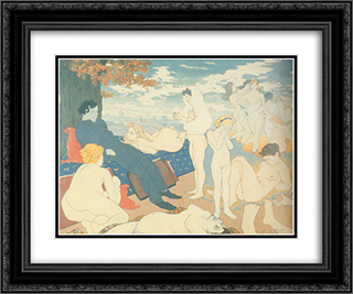 The Dawn of of the Dream, or Les Fleurs du Mal 24x20 Black or Gold Ornate Framed and Double Matted Art Print by Charles Maurin