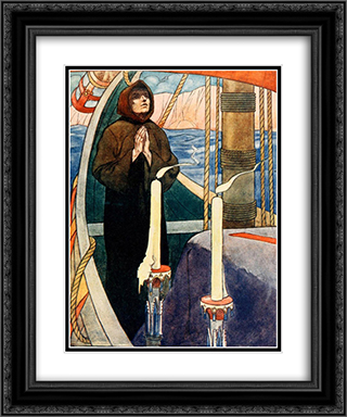 A monk was told in a wvision to take Andrew's bones on board a certain ship 20x24 Black or Gold Ornate Framed and Double Matted Art Print by Charles Robinson