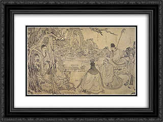An Elegant Gathering 24x18 Black or Gold Ornate Framed and Double Matted Art Print by Chen Hongshou