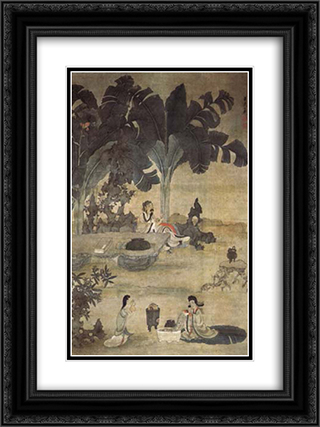 Drinking Wine in the Garden 18x24 Black or Gold Ornate Framed and Double Matted Art Print by Chen Hongshou