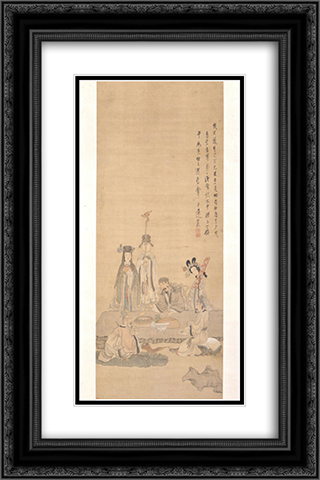 Immortals Celebrating a Birthday 16x24 Black or Gold Ornate Framed and Double Matted Art Print by Chen Hongshou