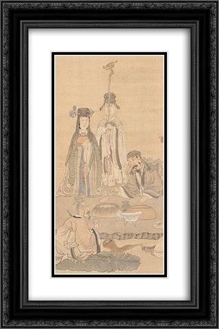 Immortals Celebrating a Birthday (detail) 16x24 Black or Gold Ornate Framed and Double Matted Art Print by Chen Hongshou