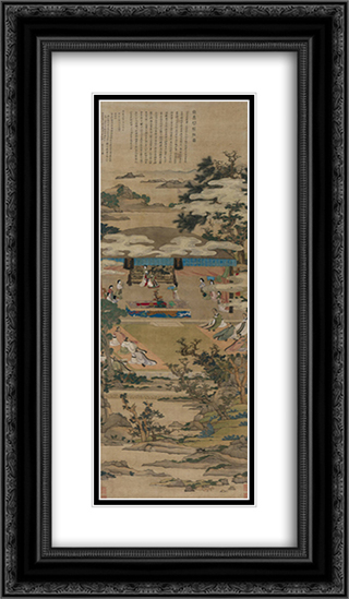 Lady Xuanwen Jun Giving Instructions on the Classics 14x24 Black or Gold Ornate Framed and Double Matted Art Print by Chen Hongshou