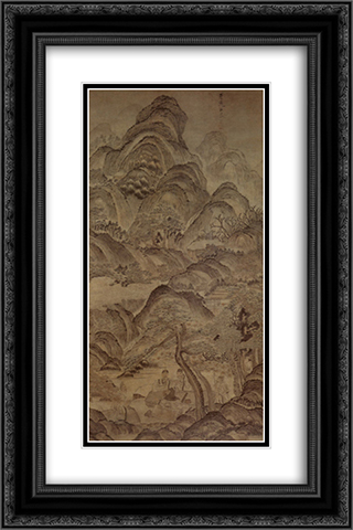 Landscape of Pine Valley 16x24 Black or Gold Ornate Framed and Double Matted Art Print by Chen Hongshou