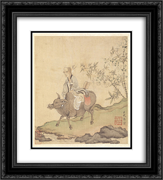 Lao-tzu Riding an Ox 20x22 Black or Gold Ornate Framed and Double Matted Art Print by Chen Hongshou