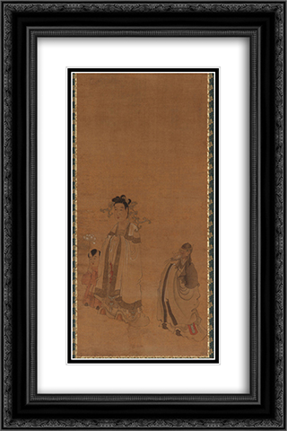 The Dragon King Revering the Buddha 16x24 Black or Gold Ornate Framed and Double Matted Art Print by Chen Hongshou