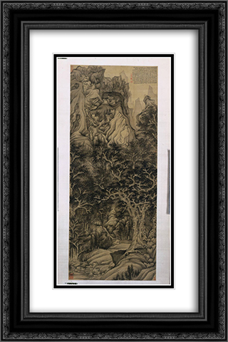 The Mountain of the Five Cataracts 16x24 Black or Gold Ornate Framed and Double Matted Art Print by Chen Hongshou
