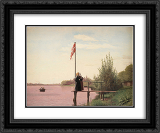 A View from Dosseringen near the Sortedam Lake Looking towards the Suburb Norrebro outside Copenhagen 24x20 Black or Gold Ornate Framed and Double Matted Art Print by Christen Kobke
