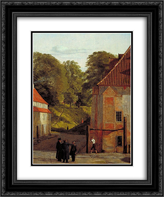 A View of the Square in the Kastel Looking Towards the Ramparts 20x24 Black or Gold Ornate Framed and Double Matted Art Print by Christen Kobke