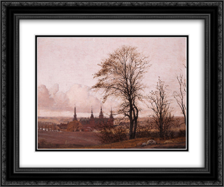 Autumn Landscape, Frederiksborg Castle in the Middle Distance 24x20 Black or Gold Ornate Framed and Double Matted Art Print by Christen Kobke