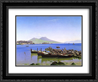 Bay of Naples 24x20 Black or Gold Ornate Framed and Double Matted Art Print by Christen Kobke