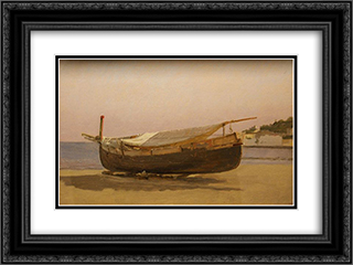 Boat dragged on shore 24x18 Black or Gold Ornate Framed and Double Matted Art Print by Christen Kobke
