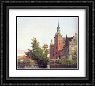 Frederiksborg Castle Seen from the Northwest 22x20 Black or Gold Ornate Framed and Double Matted Art Print by Christen Kobke