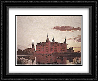 Frederiksborg Palace in the Evening Light 24x20 Black or Gold Ornate Framed and Double Matted Art Print by Christen Kobke