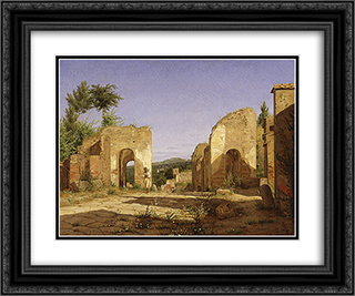 Gateway in the Via Sepulcralis in Pompeii 24x20 Black or Gold Ornate Framed and Double Matted Art Print by Christen Kobke