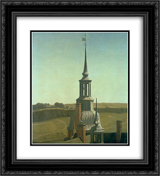 One of the Small Towers on Frederiksborg Castle 20x22 Black or Gold Ornate Framed and Double Matted Art Print by Christen Kobke