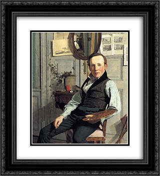 Portrait of Frederik Hansen Sodring 20x22 Black or Gold Ornate Framed and Double Matted Art Print by Christen Kobke