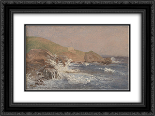 Rough Sea on a Rocky Coast 24x18 Black or Gold Ornate Framed and Double Matted Art Print by Christen Kobke