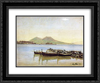 The Bay of Naples with Vesuvius in the Background 24x20 Black or Gold Ornate Framed and Double Matted Art Print by Christen Kobke