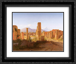 The Forum, Pompeii, with Vesuvius in the Distance 24x20 Black or Gold Ornate Framed and Double Matted Art Print by Christen Kobke