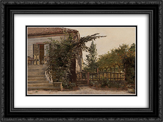 The Garden Steps Leading to the Artist's Studio on Blegdammen 24x18 Black or Gold Ornate Framed and Double Matted Art Print by Christen Kobke