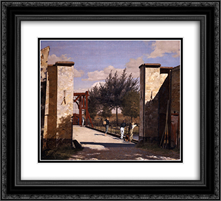 The North Gate of the Citadel 22x20 Black or Gold Ornate Framed and Double Matted Art Print by Christen Kobke