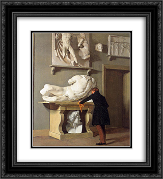The View of the Plaster Cast Collection at Charlottenborg Palace 20x22 Black or Gold Ornate Framed and Double Matted Art Print by Christen Kobke