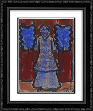 Blue Fan Dancer 20x24 Black or Gold Ornate Framed and Double Matted Art Print by Christian Rohlfs
