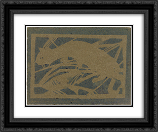 Cat 24x20 Black or Gold Ornate Framed and Double Matted Art Print by Christian Rohlfs