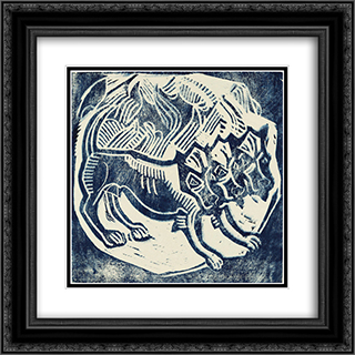 Cerberus 20x20 Black or Gold Ornate Framed and Double Matted Art Print by Christian Rohlfs