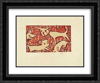 Dogs 24x20 Black or Gold Ornate Framed and Double Matted Art Print by Christian Rohlfs