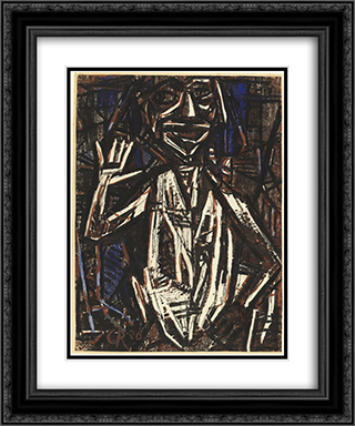 Idol (Torso with Raised Hand) 20x24 Black or Gold Ornate Framed and Double Matted Art Print by Christian Rohlfs