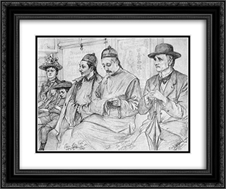 Chinese people on the Underground - Berlin 24x20 Black or Gold Ornate Framed and Double Matted Art Print by Christian Wilhelm Allers