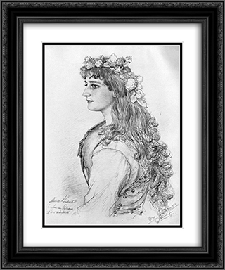Portrait of Amanda Lindner 20x24 Black or Gold Ornate Framed and Double Matted Art Print by Christian Wilhelm Allers