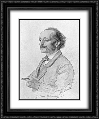 Portrait of Julius Rodenberg 20x24 Black or Gold Ornate Framed and Double Matted Art Print by Christian Wilhelm Allers