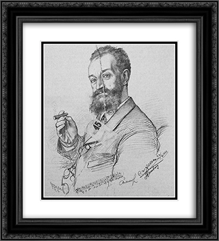 Portrait of Karl Millocker 20x22 Black or Gold Ornate Framed and Double Matted Art Print by Christian Wilhelm Allers